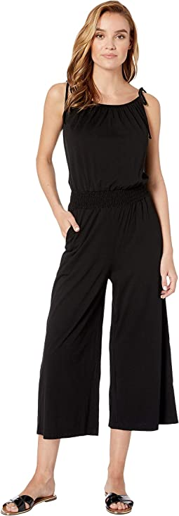 Cotton Modal Jane Cropped Jumpsuit with Tie Strap