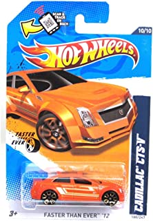 Hot Wheels 2012, Cadillac CTS-V (Orange), Faster Than Ever '12 # 100/247. 1:64 Scale Die Cast.