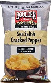 Boulder Canyon Authentic Foods Kettle Cooked Potato Chips Sea Salt & Cracked Pepper -- 5 oz (Pack of 2)