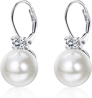 YADOCA Orecchini di Perle 10mm per Donne in Sterlina Argento 925 Anallergici Pendenti Zircone Orecchini