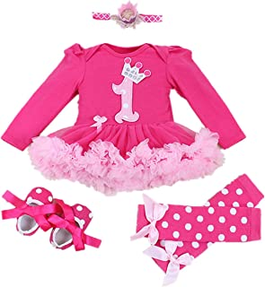 WINMI Baby Girls' 1st Birthday Onesie Outfits Tutu Dress 4PCs