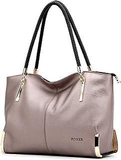 Genuine Leather Handbags for Women, Ladies Top-handle Tote Purse Shoulder Bags