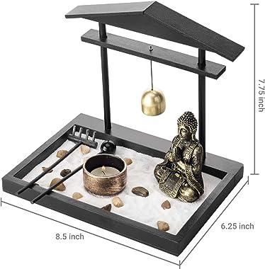 MyGift Mini Zen Sand Garden Set with Buddha Statue, Bell, Rake, Candle Holder & Tray