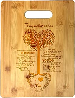To My Mother in Law Tree Heart Sweet Sayings Birthday, Mother's Day, Laser Engraved Bamboo Cutting Board - Wedding, Housewarming, Anniversary, Birthday, Father's Day, Gift