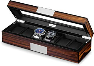 Lifomenz Co 6 Watch Box Organizer Mens Watch Case Large Watch Storage Box Wood 6 Watch Display Case