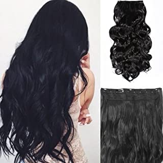 TODO Black Brown High Grade Synthetic Hair Wavy Curly Clip-In Hair Extension 5 Clips 22""