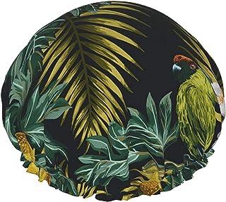 Czapka prysznicowa dla kobiet wodoodporna liście owoce i ptak dwuwarstwowa czapka do kąpieli wielokrotnego użytku, z elast...