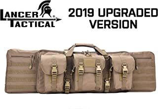 Lancer Tactical Rifle Case Solid Fabric Reinforced Stitch Thickened Foam Double Long Rifle Bag Tactical Gun Case Perfect for Hunting and Shooting