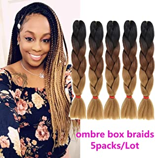Beauty Youth 24inch Ombre Kanekalon Braiding Hair Jumbo Braid Twist Hair Extensions 5pcs/Lot Jumbo Box Braid Hair 100g/pc (black to dark brown to light brown)