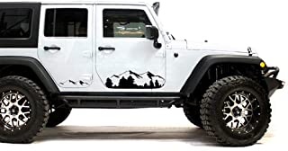 Bubbles Designs Black Mountains Decal Sticker Compatible with Jeep Wrangler Rubicon Jk