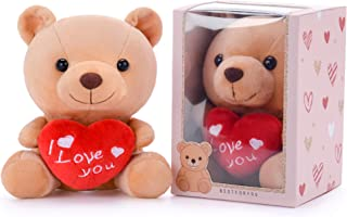 Gloveleya I Love You Stuffed Teddy Bear with Heart Plush Toy Gift 6 Inches with Box