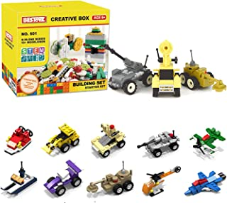 Bestoyz 10 in 1 Mini Building Blocks Vehicles Set, Ships - Trucks - Military - Airplane N-in-ONE Creative Box, Building Bricks Toy for Age 6-10