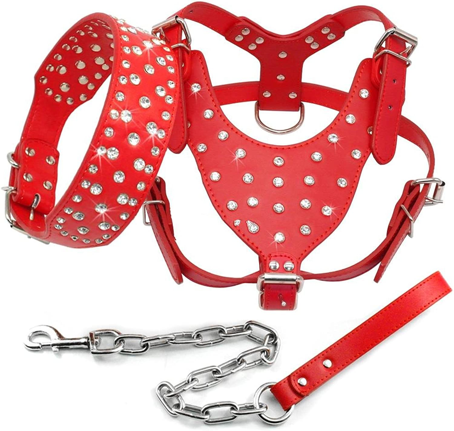 Benala Shine Bling Rhinestone Studded Leather Dog Harness&Collar&Leash Walking Set 3Pcs Medium Large Dogs Pitbull Boxer Terrier,Red,XL