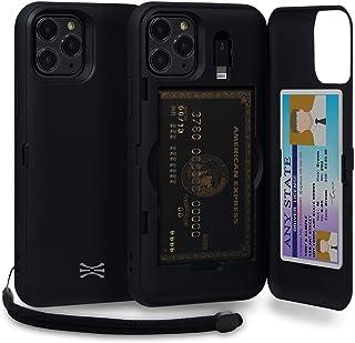 TORU CX PRO iPhone 11 Pro ケース カード 収納背面 3枚 カード入れ カバ― (ライトニング アダプタ, ストラップ, ミラー 含ま) - アイフォン11 Pro 用 - ブラック