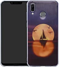 HHDY Compatible with Huawei Honor Play Case,[Ultra Lightweight] Reinforced [4-Corners Bumper] Flexible TPU [Pattern Design] Cover for Huawei Honor Play,Sailboats & Moon
