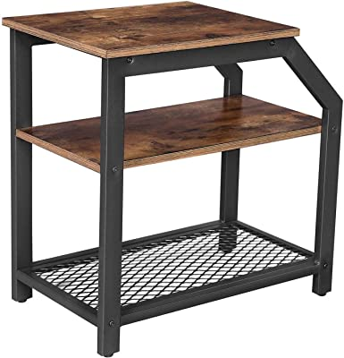 Benjara Industrial Side Table with 1 Wooden and 1 Metal Mesh Shelf, Brown and Black
