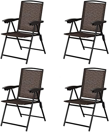Giantex Set of 4 Patio Dining Chairs, Folding Outdoor Chairs, Adjustable Sling Back Chairs with Armrest, Portable Patio Chairs for Camping Garden Pool Beach Deck Lawn, Lounge Chairs (Brown)