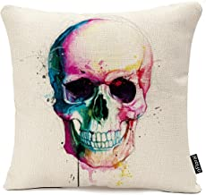Decor Skull Head Cotton Linen Throw Pillow Cover Decorative Pillow Case Handmade Cushion Cover for Couch, 18x18 inches