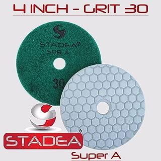Stadea DPPD04SPRA030G1P Dry Stone Diamond Polishing Pad for Stone Granite Concrete Glass Travertine Marble Sanding Polishing with 4-Inch Grit 30