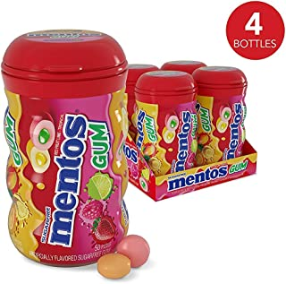 Mentos Sugar-Free Chewing Gum, Red Fruit Lime, Halloween Candy, Bulk, 50 Piece Bottle (Pack of 4)