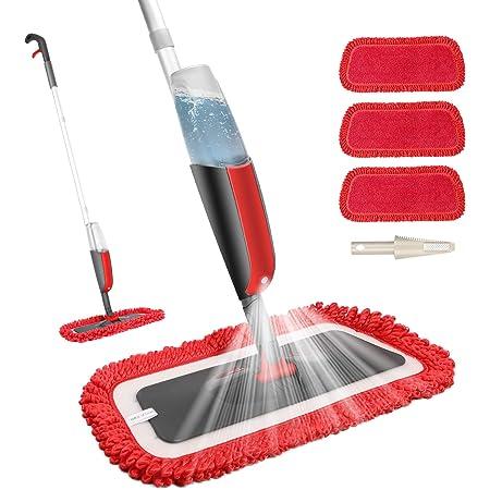 Fixget Balai Lave Sol avec Vaporise, Balais Serpillère, Spray Mop Microfibre, Vadrouille Plate avec 3 Tampons de Rechange pour le Carrelage et le Parquet Stratifié
