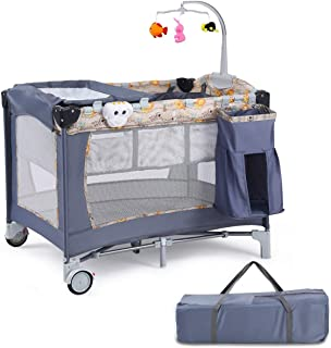 LHONE Baby Trend Pack Play Foldable Travel Bassinet Bed Baby Trend Nursery Center 3 in 1 Reversible Napper and Changer Baby Travel Infant Bassinet Gray Bed (Gray)