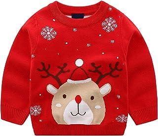 Niños Niñas Suéteres Navideños Manga Larga Reno Jersey Pullover de Punto Sudadera Prendas de Punto Jumper