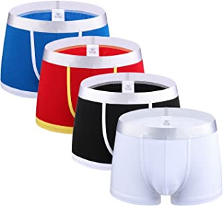 Femaroly Men and Boys Cotton Boxer Briefs Shorts Underpants Beyond Soft Panty 4-Pack
