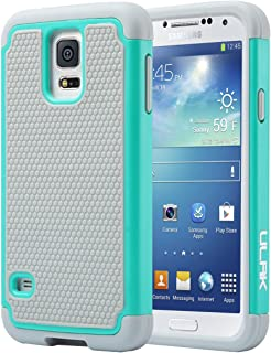 ULAK Galaxy S5 Case, S5 Phone Case Knox Armor Slim Shockproof Hybrid Silicone Rugged Rubber Hard PC Shell Protective Grip Cover for Samsung Galaxy S5 S V I9600 Mint Green/Gray