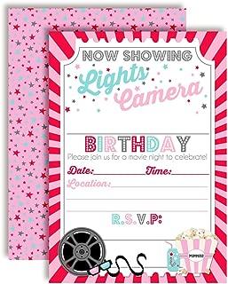 Movie Night Birthday Party Invitations for Girl, 20 5
