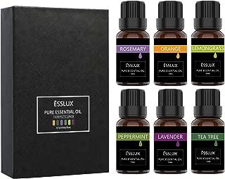 Essential Oils Set, ESSLUX TOP 6 Pure Essential Oils for Diffuser, Aromatherapy and Massage, Premium Quality, Lavender, Tea Tree, Rosemary, Lemongrass, Orange, Peppermint Oil