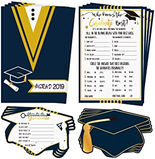 30Pcs Graduation Game Cards and 30Pcs Graduation Advice Cards, 60 in total for 2019 High School/College/University Grad Party Supplies Games Activities Invitations, Graduate Favors Decorations