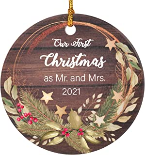 Avamie Our First Christmas as Mr. & Mrs Ornament 2021, Newlywed Married Wedding Ceramic Decoration Romantic Couples Weddin...