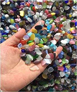 E-Uli Assorted Stones Quartz Tumbled Chips Stone Crushed Crystal Natural Rocks Irregular Shape Healing Home Indoor Decorative Gravel Feng Shui Healing Stones (480gs Coloful Lampwork Glass)