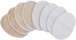 8 Packs Nirvaanaa Natural Loofah Organic Body Scrubber for Exfoliating Dead skin, Bath Sponge with Handle for Men & Women.