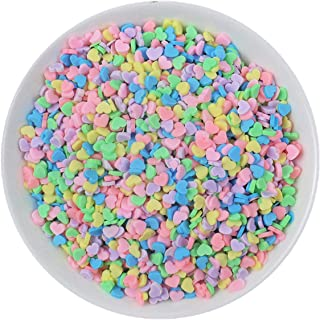 100g Resin Flatbacks Slime Accessories Clay Sprinkles Decoration for Slime Charms Filler DIY Slime Supplies Fake Candy Chocolate Cake Dessert Mud Particles Toy Scrapbook Phone Case (heart10)