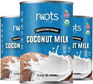 Roots Circle Unsweetened USDA Organic Coconut Milk 3 Pack of 13oz Cans | Dairy-Free For Coffee Creamer, Soups, Curries, Sm...