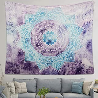 LAVAY Tapestry Mandala Wall Hanging Decor Pink Gray Indian Hippie Bohemian Flower Gypsy Decoration Beach Blanket Dorm Room Bed Sheets (Purple Mandala, M: 59