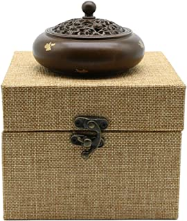 SYNPIE Incense Burner-Pure Brass 600g Coil Stick Incense Burner Incense Holder & 1 Calabash Brass Holder 1 Anti-fire Cotton for Home Fragrance Home Decor Mediation Tea Ceremony