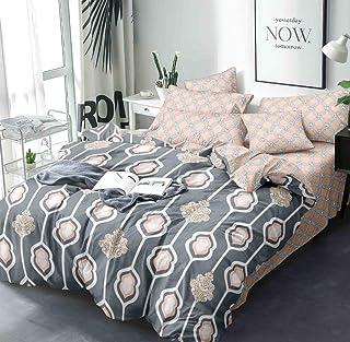 Blexos Glace Cotton Microfiber 300TC Bedsheet Set (Double_Silver)