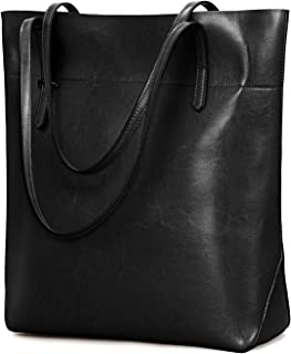 Kattee Vintage Genuine Leather Tote Shoulder Bag With Adjustable Handles
