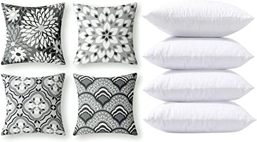 Phantoscope Bundles, Set of 4 New Living Series Dahlia and Orental Print Grey and White Pillow Covers 18 x 18 inches & Set of 4 Pillow Inserts 18 x 18 inches