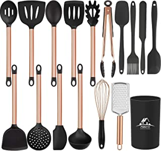 MIBOTE 19pcs Silicone Cooking Kitchen Utensils Set with Stainless Steel Handle and Holder, Bonus High Value Stainless Stee...