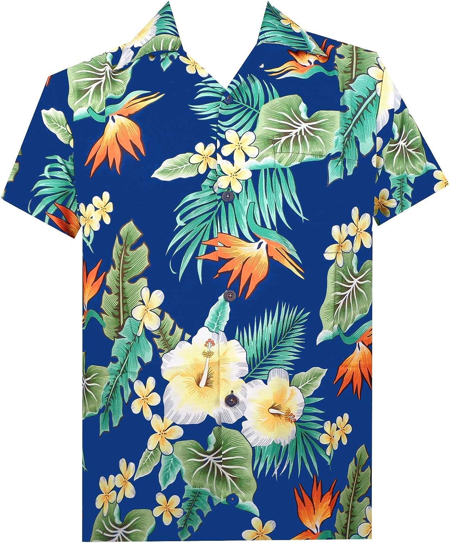 Hawaiian Shirt Mens Flower Leaf Beach Aloha Party Casual Holiday Short Sleeve