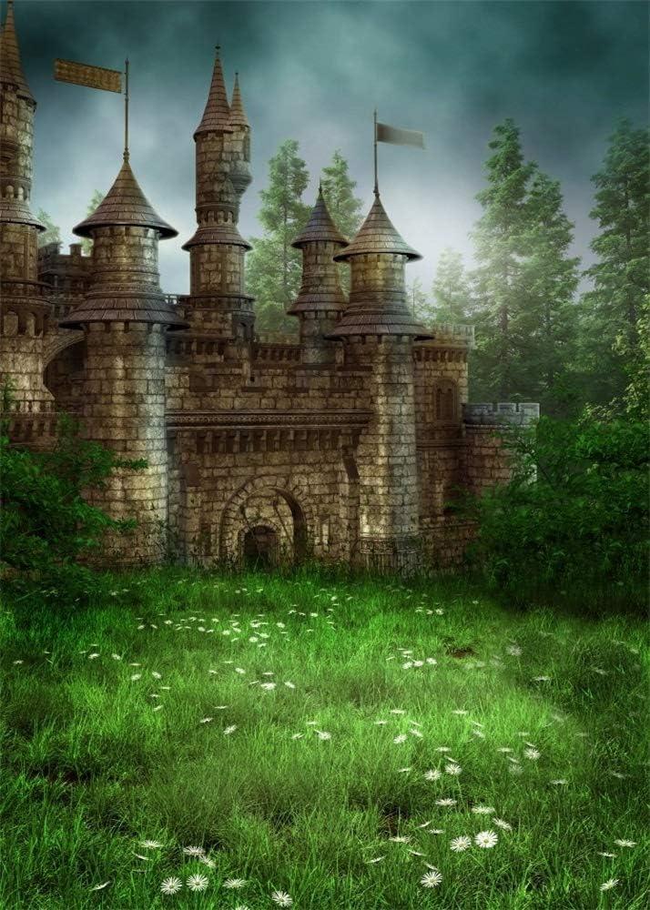 AOFOTO 7x10ft Magic Forest Vintage Medieval Castle Background Fairytale Florets Meadow Photography Backdrop Wonderland Princess Knight Prince Kid Girl Boy Artistic Portrait Photo Studio Props Vinyl