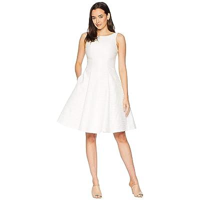 Maggy London Stripe Jacquard Novelty Fit Flare Dress (White) Women