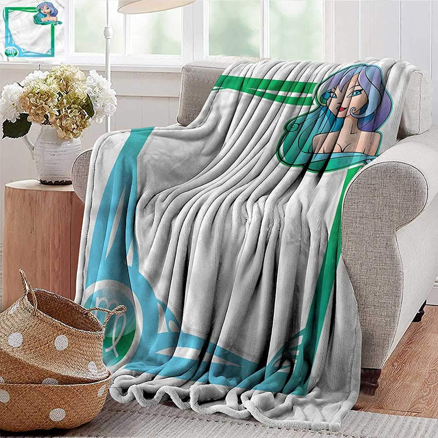 Xaviera Doherty Soft Cozy Throw Blanket Zodiac Virgo,Cartoon Frame Girl for Bed & Couch Sofa Easy Care 70 x90