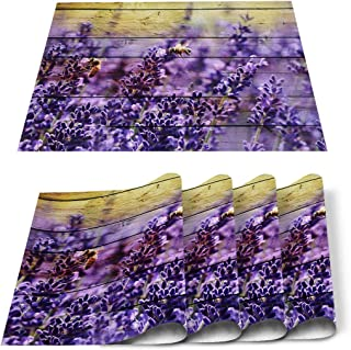 Infinidesign Flower Placemats,DurableCottonLinenTableMats,Heat-ResistantPlacematPerfectforIndoorOutdoorUse4 P...