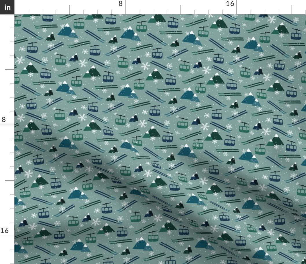 爆安 Spoonflower Fabric - Winter Mountains Ski H Snowflake Green 100%品質保証! Blue