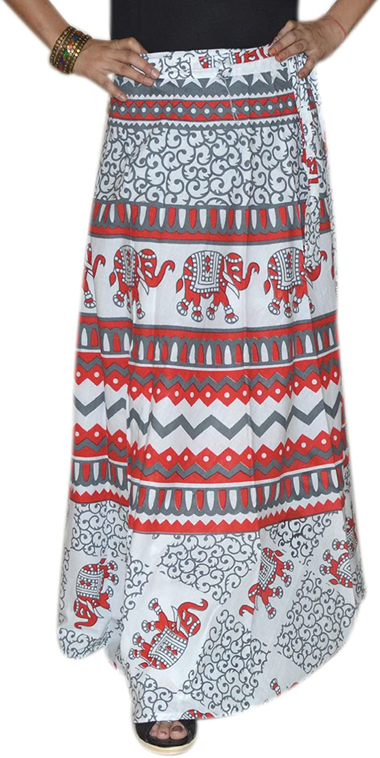 Marusthali Printed Indian Long Skirt Wrap Around Skirt Womens Cotton Ethnic Clothes Red